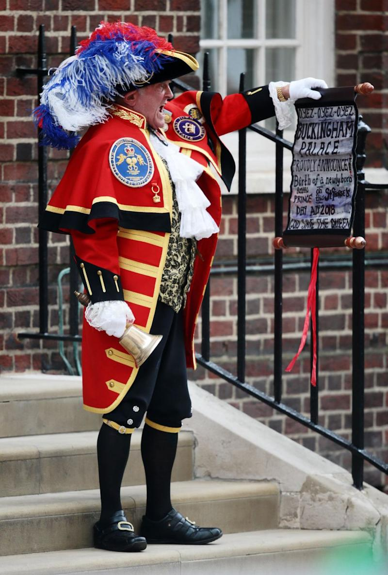 The birth was announced by a town crier who rang a bell outside of the hospital. Photo: Getty