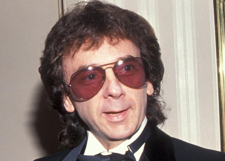 Phil Spector photographed at the Rock and Roll Hall of Fame induction ceremony in 1989.