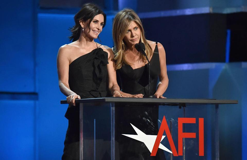 <p>Cox and Aniston came together to present an award to another honorary Friend - George Clooney - who had a guest appearance as a doctor (who he also played in ER) in the show's first season. </p>