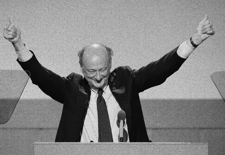 "FILE - In this July 16, 1984, file photo, New York Mayor Ed Koch raises his hands with two thumbs up while addressing the opening session of the Democratic National Convention in San Francisco. Ed Koch, right, as they leave New York's Grand Central after holding a news conference for the ""Committee to Save Grand Central Station."" Koch, the combative politician who rescued the city from near-financial ruin during three City Hall terms, has died at age 88. Spokesman George Arzt says Koch died Friday morning Feb. 1, 2013 of congestive heart failure. (AP Photo/Ira Schwarz, File)"