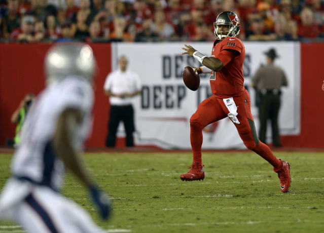 Tampa Bay Buccaneers quarterback Jameis Winston struggled in a loss to the Patriots on Thursday night. (AP)