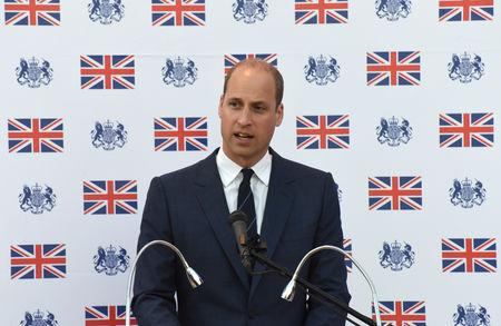 FILE PHOTO - Britain's Prince William speaks during a reception at the British Consulate General in Jerusalem