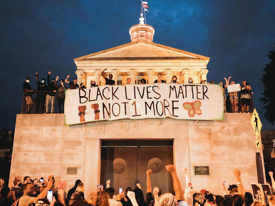 Protesters advocate for an end to police brutality at the State Capitol building on June 04, 2020 in Nashville, Tennessee.  (Getty Images)