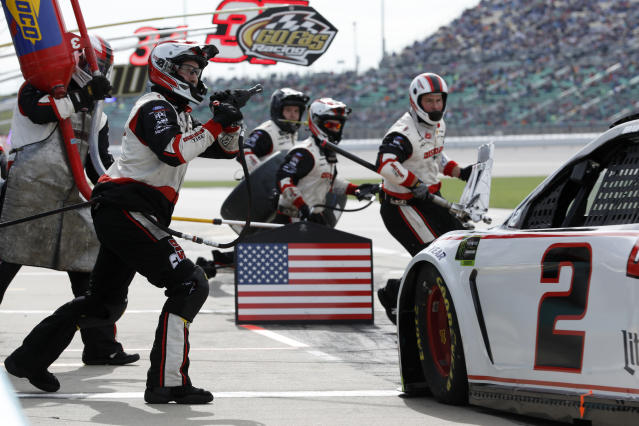 Brad Keselowski (2) pits during a NASCAR Cup Series auto race at Kansas Speedway in Kansas City, Kan., Sunday, Oct. 20, 2019. (AP Photo/Colin E. Braley)