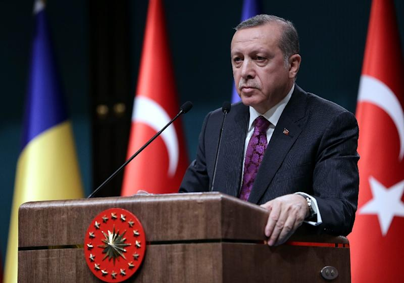 "German regional television NDR on March 17 broadcast the sardonic song -- ""Erdowie, Erdowo, Erdogan"" -- ridiculing the Turkish president (pictured), his alleged extravagant spending and crackdown on civil liberties"