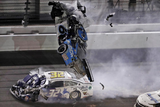 Ryan Newman's car after it was hit by Corey LaJoie's in the Daytona 500. (AP Photo/Chris O'Meara, File)