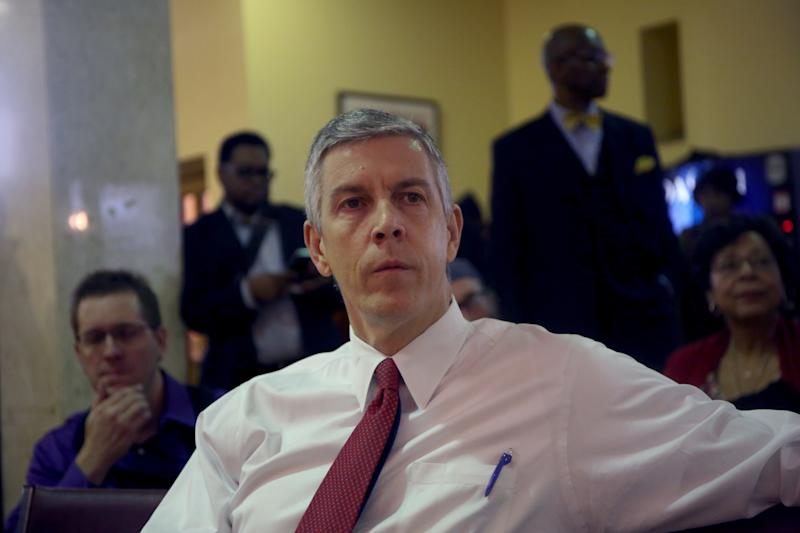 Arne Duncan makes his last speech as the U.S. Secretary of Education on Dec. 30, 2015 in the basement of St. Sabina Church in Chicago, Ill. (Nancy Stone/Chicago Tribune/Tribune News Service via Getty Images)