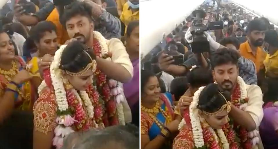 The couple seen being married on the crowded plane.