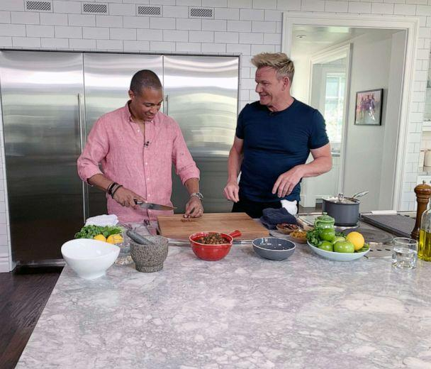 PHOTO: TJ Holmes chops dates with Gordon Ramsay for a Moroccan-inspired dish. (ABC News)