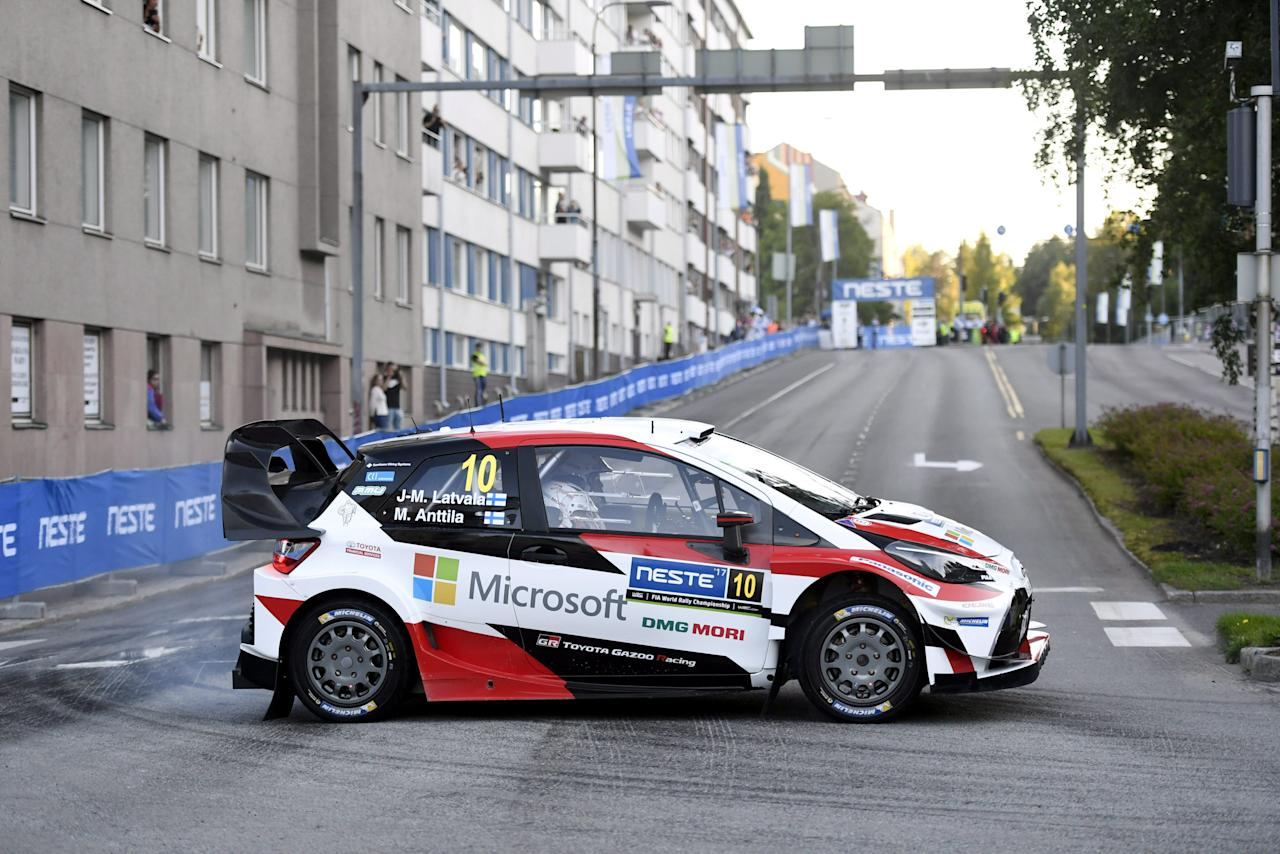 Jari-Matti Latvala of Finland and his co-driver Miikka Anttila of Finland steer their Toyota Yaris WRC during stage 1 of the Neste World Rally Championship in Jyvaskyla, Finland, July 27, 2017. Heikki Saukkomaa/Lehtikuva/via REUTERS     ATTENTION EDITORS - THIS IMAGE WAS PROVIDED BY A THIRD PARTY. NO THIRD PARTY SALES. FINLAND OUT.
