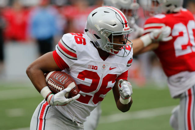 Antonio Williams rushed for 290 yards and three touchdowns at Ohio State in 2017. (AP Photo/Jay LaPrete)