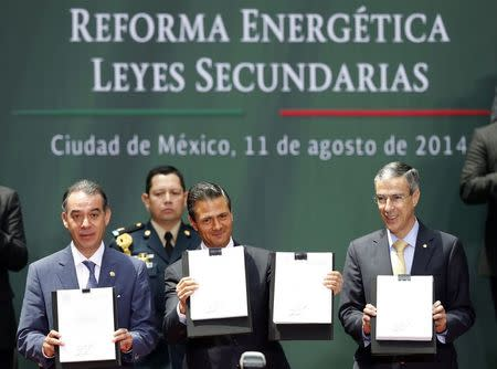 Mexico's President Enrique Pena Nieto (C), President of Mexico's Senate Raul Cervantes (L) and President of the Chamber of Deputies Jose Gonzalez hold up a written version of an energy reform at the National Palace in Mexico City August 11, 2014. REUTERS/Edgard Garrido
