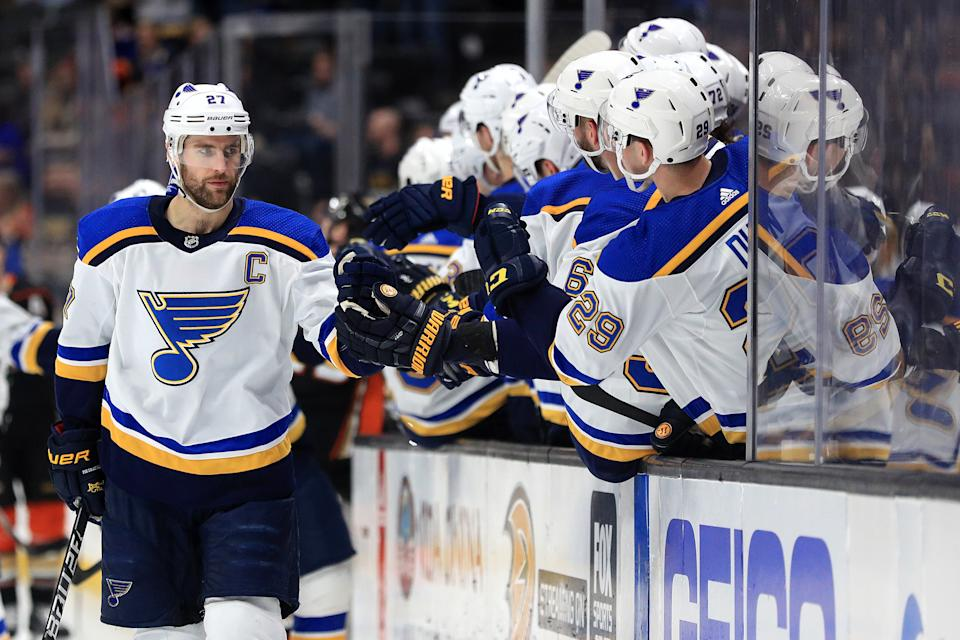 ANAHEIM, CALIFORNIA - MARCH 11:   #27 of the St. Louis Blues is congratulated at the bench after scoring a goal during the first period of a game against the Anaheim Ducks at Honda Center on March 11, 2020 in Anaheim, California. (Photo by Sean M. Haffey/Getty Images)