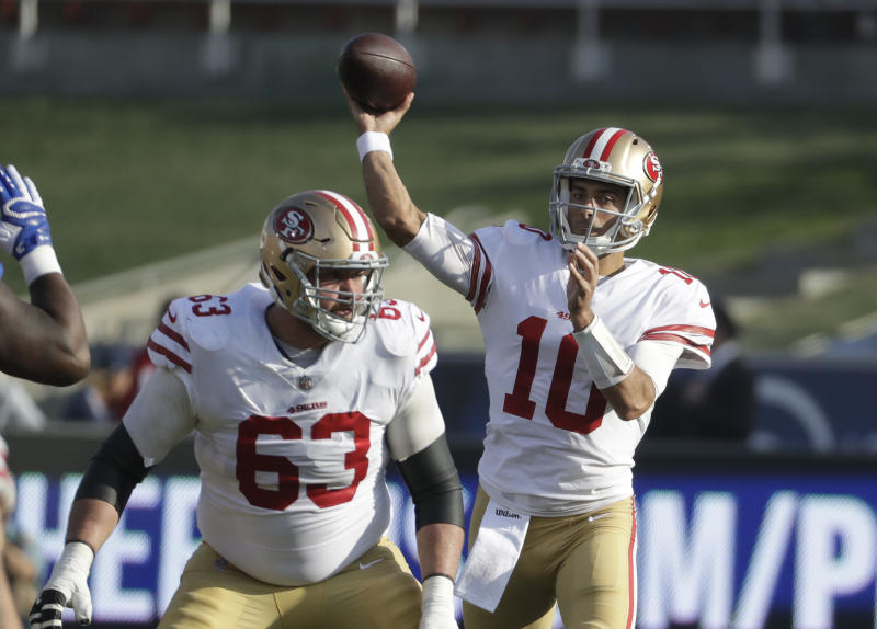 San Francisco 49ers quarterback Jimmy Garoppolo signed a record-setting contract on Thursday. (AP)