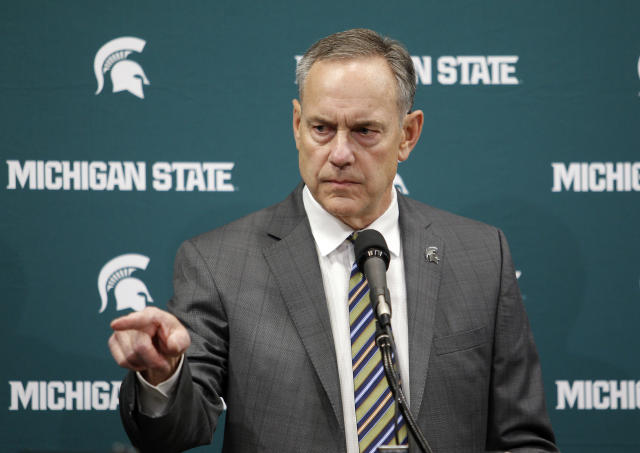 Michigan State football coach Mark Dantonio addresses the media about the school's handling of sexual abuse allegations, Friday, Jan. 26, 2018, in East Lansing, Mich. (AP Photo)