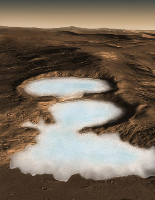 An artist's conception shows what NASA's Mars Reconnaissance Orbiter has revealed, vast Martian glaciers of water ice under protective blankets of rocky debris at much lower latitudes than any ice previously identified on the Red Planet. Scientists analyzed data from the spacecraft's ground-penetrating radar and report in the November 21, 2008 issue of the journal Science that buried glaciers extend for dozens of miles from edges of mountains or cliffs. REUTERS/NASA/Handout (UNITED STATES) QUALITY FROM SOURCE. FOR EDITORIAL USE ONLY. NOT FOR SALE FOR MARKETING OR ADVERTISING CAMPAIGNS.
