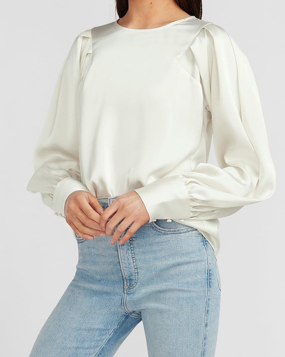 <p>Or if you prefer to have full coverage, go for this <span>Satin Pleated Balloon Sleeve Top</span> ($25, originally $64).</p>