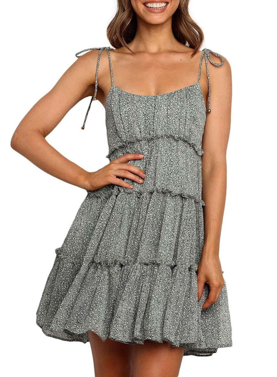 """<br><br><strong>Blibea</strong> Spaghetti Strap Ruffle Dress, $, available at <a href=""""https://amzn.to/2SJRf2l"""" rel=""""nofollow noopener"""" target=""""_blank"""" data-ylk=""""slk:Amazon"""" class=""""link rapid-noclick-resp"""">Amazon</a>"""