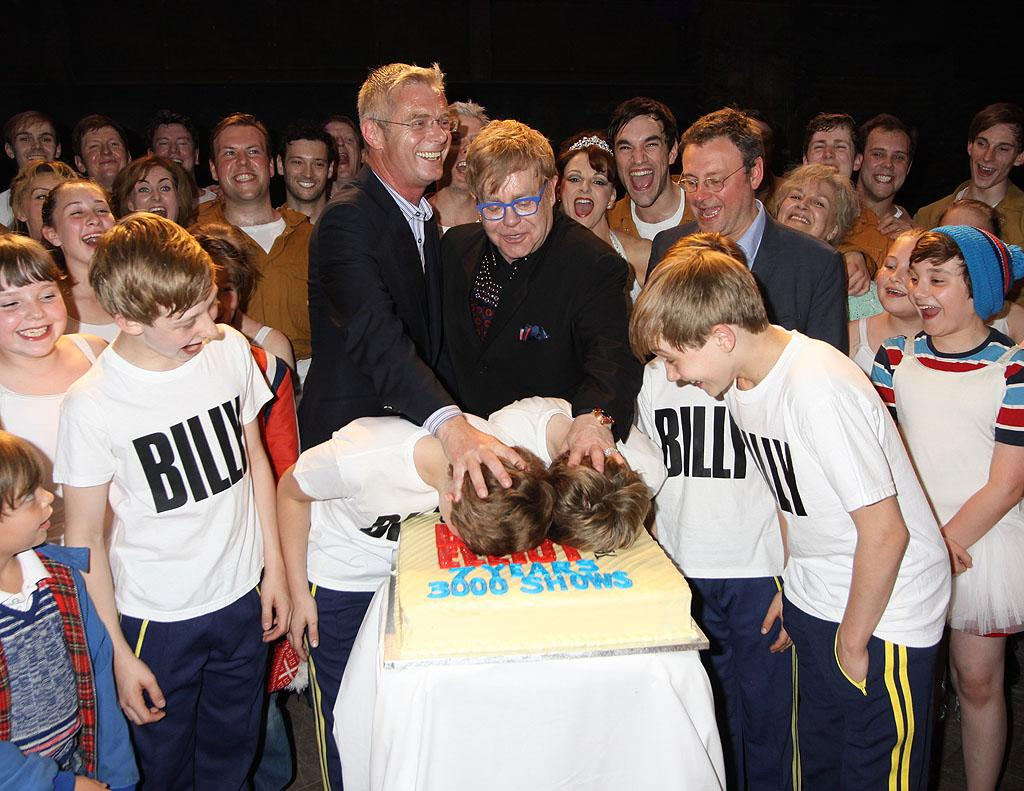 "<p class=""MsoNormal"">Elton John and director Stephen Daldry goofed around with some of the pint-size cast members of the musical ""Billy Elliot"" during the celebration of the 3000th performance of the show at London's Victoria Palace Theatre on Wednesday. (5/30/2012)</p>"