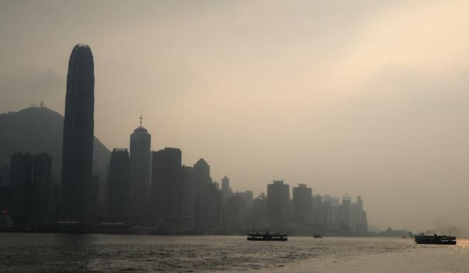 A view from Tsim Sha Tsui of the Hong Kong skyline at sunset as the Air Quality Health Index recorded elevated levels of air pollution on Tuesday. Photo: Edmond So