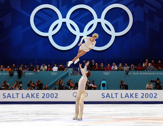 Figure skaters perform at the 2002 Winter Olympics in Salt Lake City. (Getty)