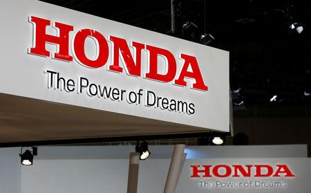 FILE PHOTO: The logos of Honda Motor Co. is pictured at the 45th Tokyo Motor Show in Tokyo, Japan October 25, 2017. Picture taken October 25, 2017.  REUTERS/Toru Hanai