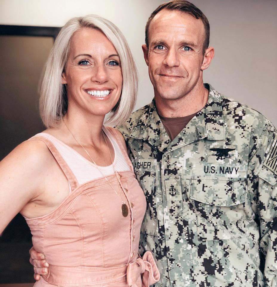 U.S. Navy SEAL Special Operations Chief Edward Gallagher, charged with war crimes in Iraq, poses with his wife Andrea Gallagher, in this undated photo provided May 24, 2019.  Courtesy Andrea Gallagher/Handout via REUTERS  ATTENTION EDITORS - THIS IMAGE WAS PROVIDED BY A THIRD PARTY.  NO RESALES, NO ARCHIVE