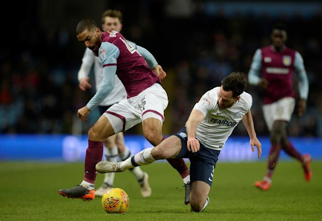 "Soccer Football - Championship - Aston Villa vs Preston North End - Villa Park, Birmingham, Britain - February 20, 2018 Aston Villa's Lewis Grabban in action with Preston North End's Greg Cunningham Action Images/Adam Holt EDITORIAL USE ONLY. No use with unauthorized audio, video, data, fixture lists, club/league logos or ""live"" services. Online in-match use limited to 75 images, no video emulation. No use in betting, games or single club/league/player publications. Please contact your account representative for further details."