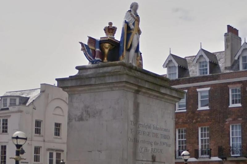 The statue of King George III in Weymouth, near where the assault took place (Google Maps)