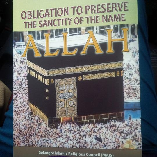 The book titled 'Obligation to preserve the sanctity of the name Allah' seeks to explain why non-Muslims cannot use the word Allah. – The Malaysian Insider pic, May 7, 2014.