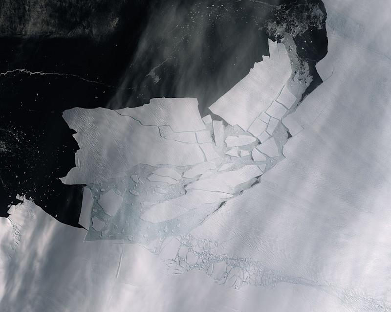 The Pine Island glacier spawned an iceberg over 115 square miles that quickly shattered into pieces. This image from space shows the freshly broken bergs.