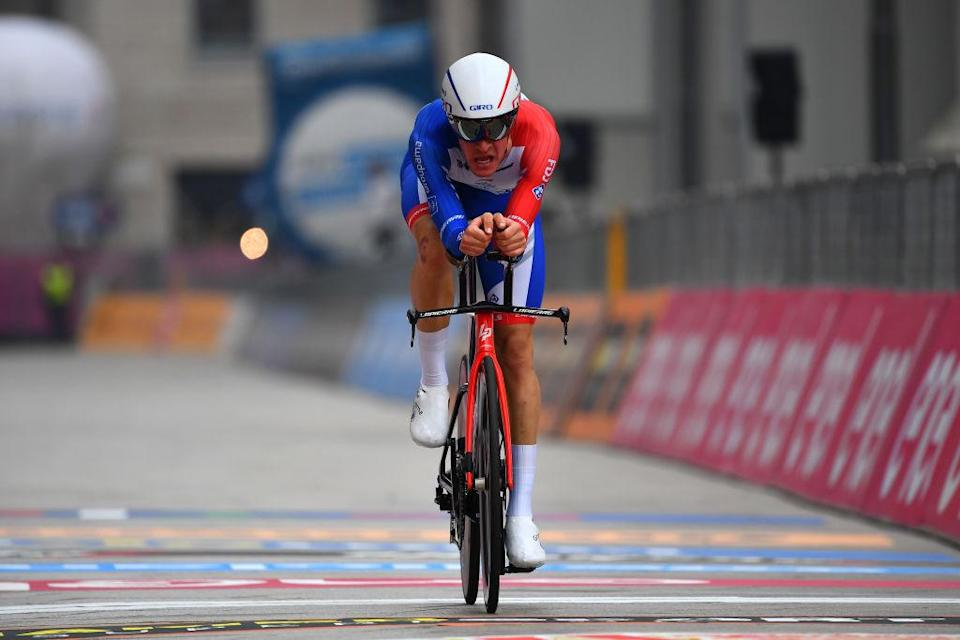 MILANO ITALY  OCTOBER 25 Arrival  Miles Scotson of Australia and Team Groupama  FDJ  during the 103rd Giro dItalia 2020 Stage 21 a 157km Individual time trial from Cernusco sul Naviglio to Milano  ITT  girodiitalia  Giro  on October 25 2020 in Milano Italy Photo by Stuart FranklinGetty Images
