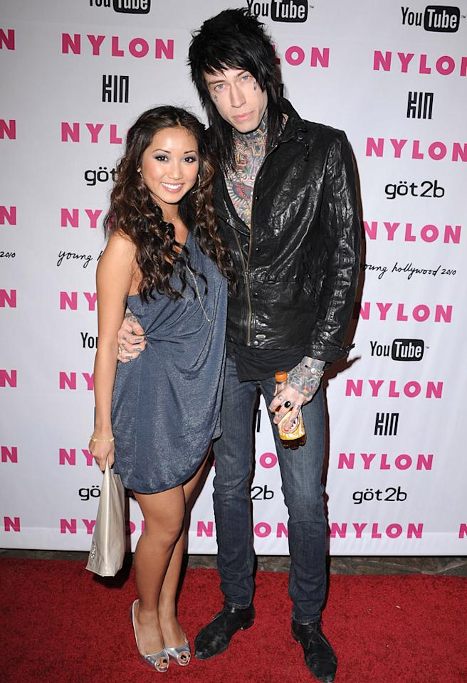 Brenda Song and Trace Cyrus attends Nylon Magazine's Young Hollywood Party at Tropicana Bar at The Hollywood Rooselvelt Hotel on May 12, 2010 in Hollywood, California.