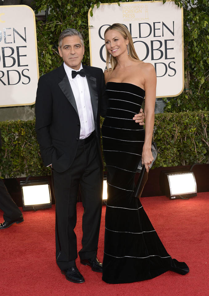 George Clooney and Stacy Keibler arrive at the 70th Annual Golden Globe Awards at the Beverly Hilton in Beverly Hills, CA on January 13, 2013.
