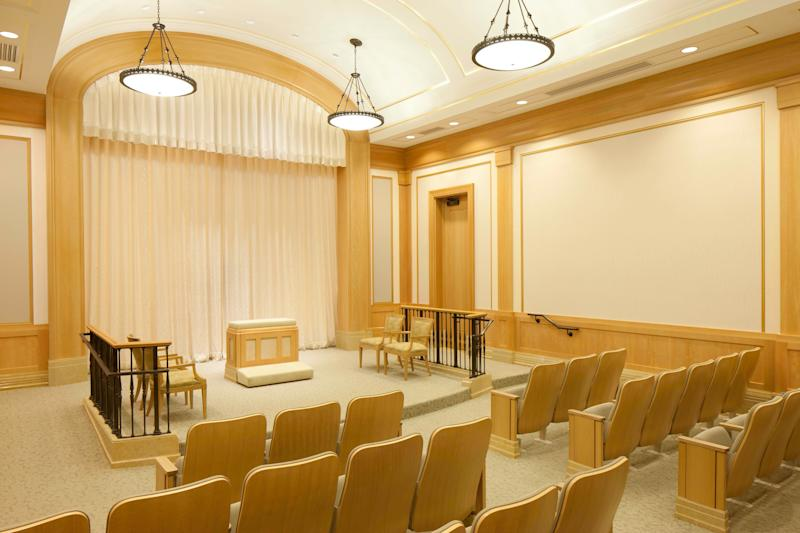This undated photo released by The Church of Jesus Christ of Latter-day Saints shows an ordinance room at the new multimillion-dollar Mormon temple in Kansas City, Mo. The temple will largely serve about 25,000 members in the Kansas City area and about 100,000 members in Kansas and Missouri. The only other Mormon temple in Missouri is in St. Louis. (AP Photo/The Church of Jesus Christ of Latter-day Saints)