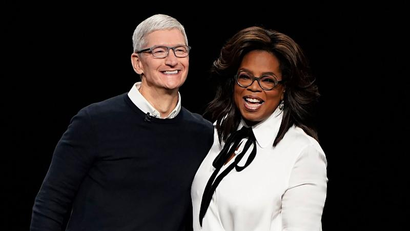 Apple CEO Tim Cook and Oprah Winfrey at the Steve Jobs Theater during an event to announce new products, in Cupertino, Calif Apple Streaming TV,