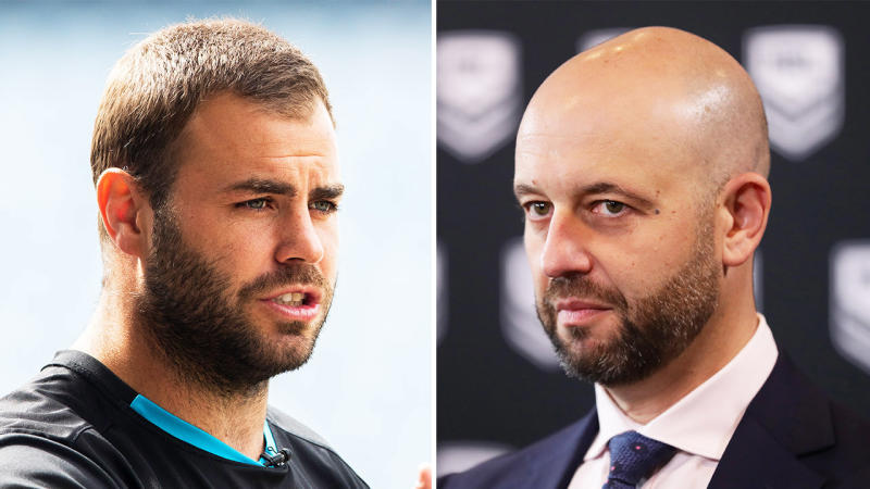 Wade Graham (pictured left) speaking to the media and Todd Greenberg (pictured right) addressing the media.