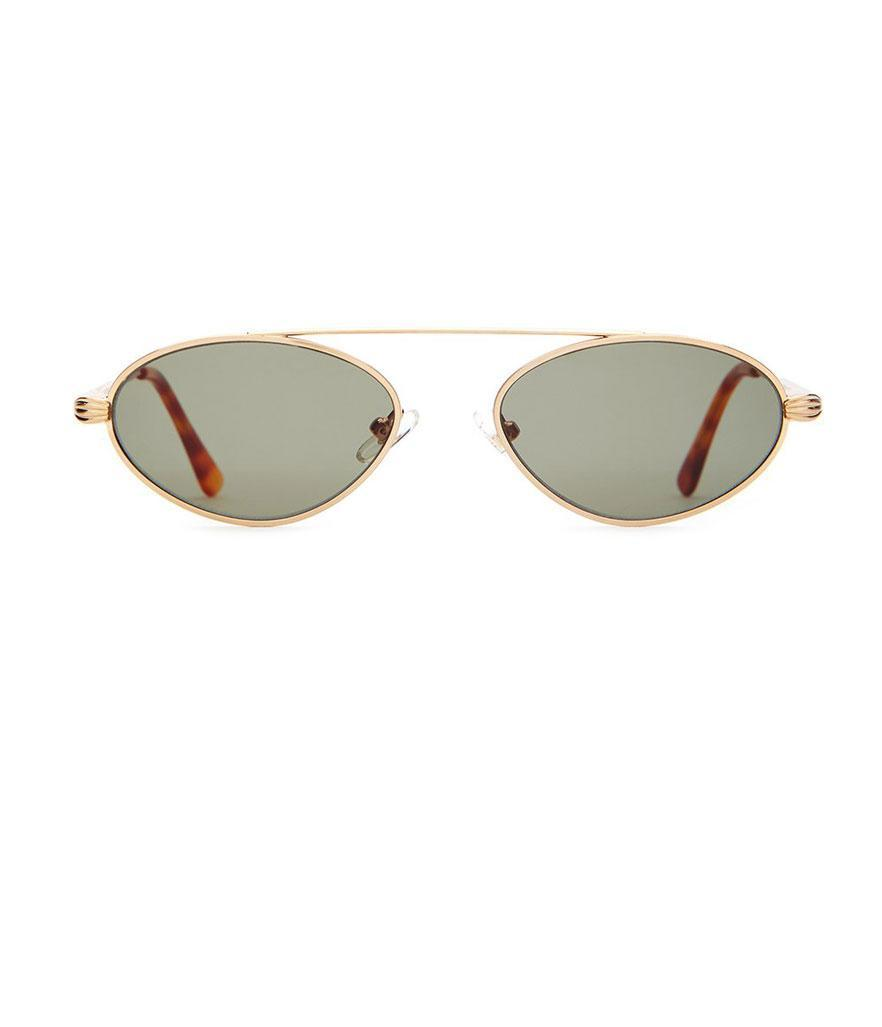 "<p>The Proto Riddim, $74, <a href=""https://www.crapeyewear.com/products/the-proto-riddim-brushed-gold-havana-tortoise-tips-w-base-4-vintage-green-cr-39-lenses-sunglasses"" rel=""nofollow noopener"" target=""_blank"" data-ylk=""slk:crapeyewear.com"" class=""link rapid-noclick-resp"">crapeyewear.com</a> </p>"