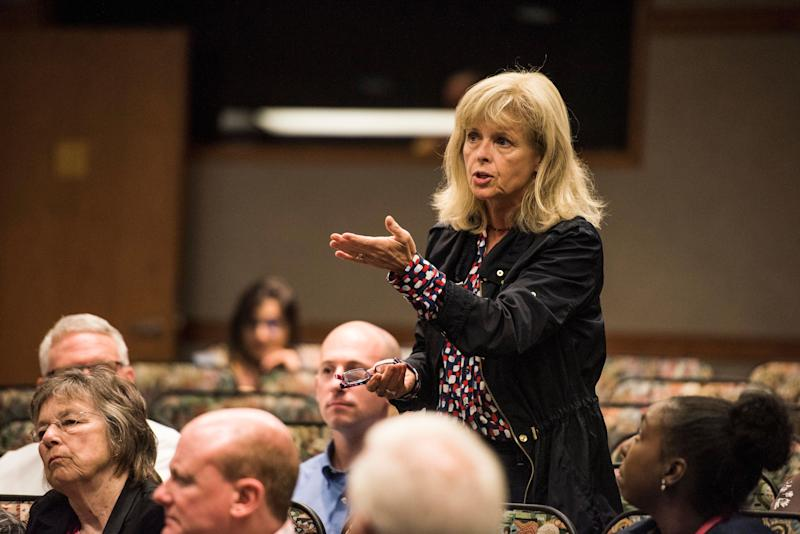 """Indiana state Sen. Liz Brown questions the panel during the """"Vouchers: The Economics and Academics of Choice"""" event."""