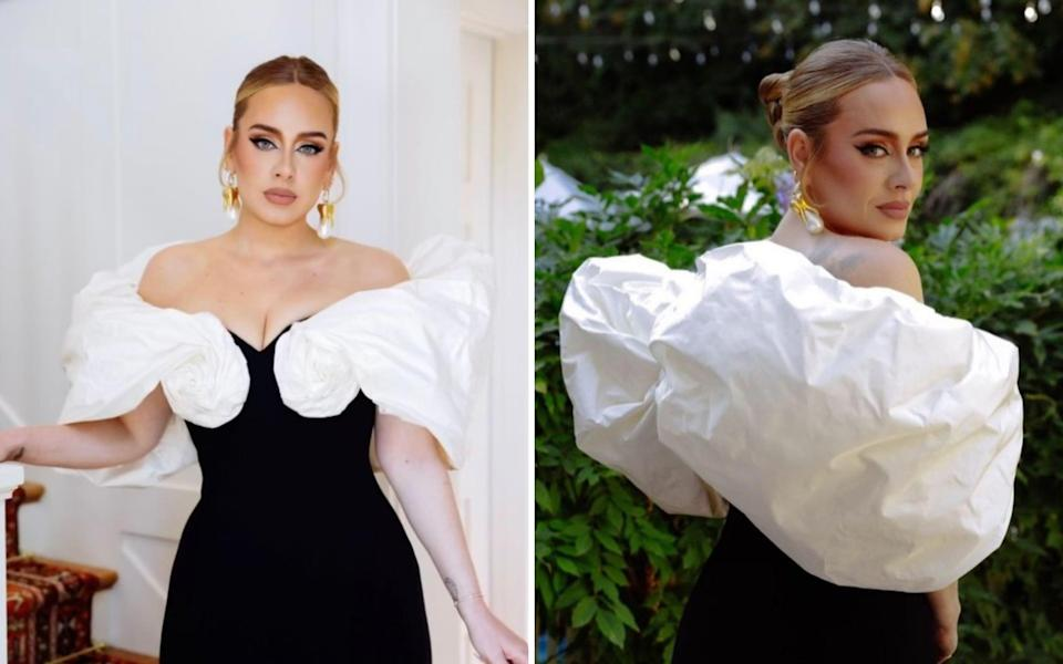 The singer looked gorgeous in a form-fitting black column gown featured a sweetheart neckline - Instagram / adele