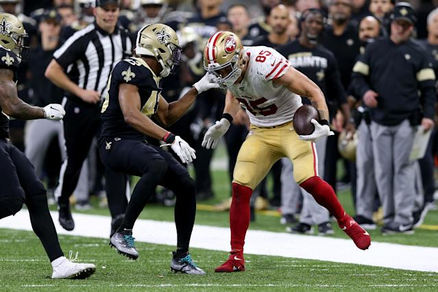 George Kittle's epic run against the Saints ended when Saints free safety Marcus Williams grabbed a hold of him – illegally – late in the fourth quarter. (Chuck Cook-USA TODAY Sports)