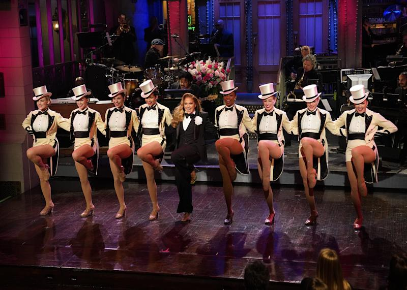 """Host Jennifer Lopez did a kick line with The Rockettes during her """"Saturday Night Live"""" monologue."""