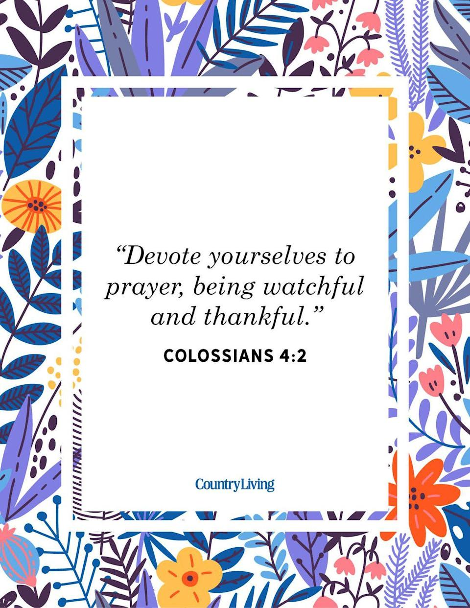 """<p>""""Devote yourselves to prayer, being watchful and thankful."""" <br></p>"""