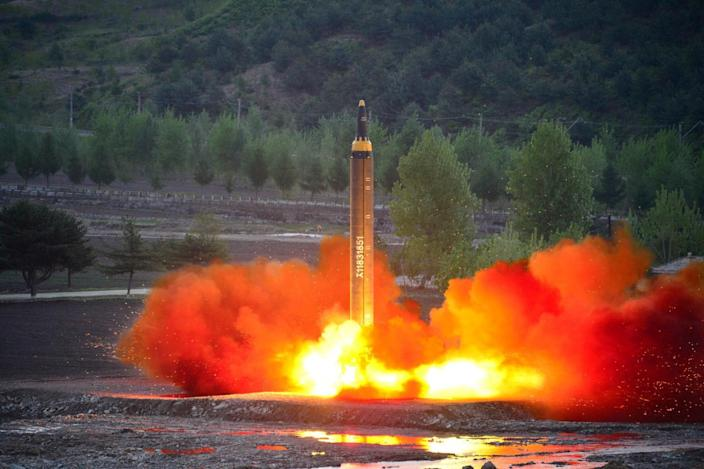 The long-range strategic ballistic rocket Hwasong-12 (Mars-12) is launched during a test in this undated photo released by North Korea's Korean Central News Agency (KCNA) on May 15, 2017.