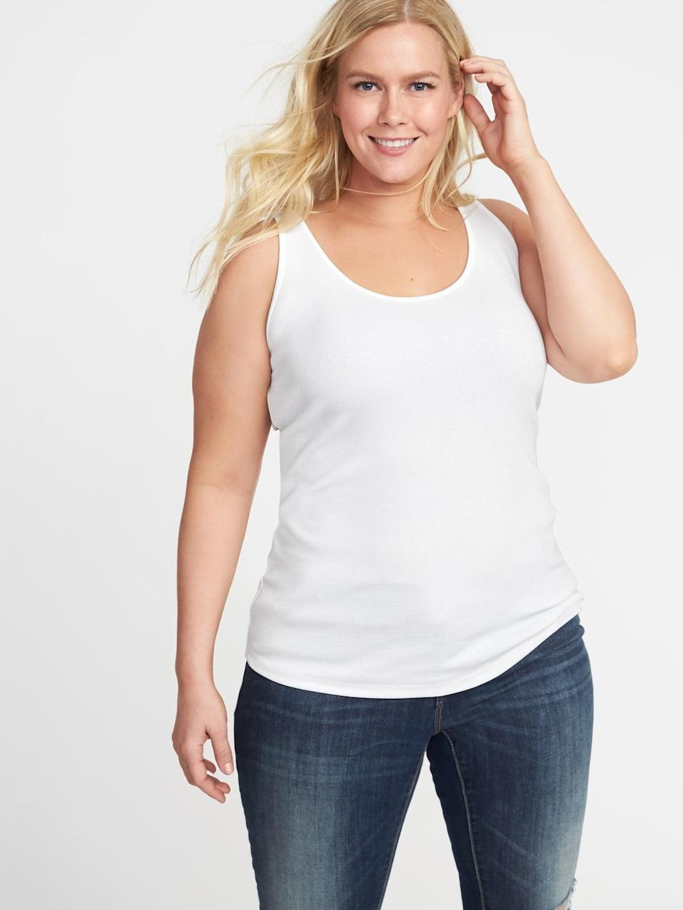 <p>This soft <span>Old Navy First-Layer Fitted Plus-Size Rib-Knit Tank</span> ($7, originally $13) is a staple, and it's so affordable.</p>