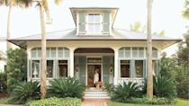 "<p>Bring the island vibes home with this charming cottage with vintage appeal. Inspired by Lowcountry design—yet befitting anywhere from the South to the Caribbean—the two-story home showcases its indoor-outdoor living prowess front and center with a trio of French doors connecting the living spaces to a wide front porch. (Hello, coastal breezes.)</p> <p>4 bedrooms/ 5 baths</p> <p>2,233 square feet</p> <p><strong>See plan:</strong> <a href=""http://houseplans.southernliving.com/plans/SL1807"" rel=""nofollow noopener"" target=""_blank"" data-ylk=""slk:Aiken Street"" class=""link rapid-noclick-resp"">Aiken Street</a></p>"