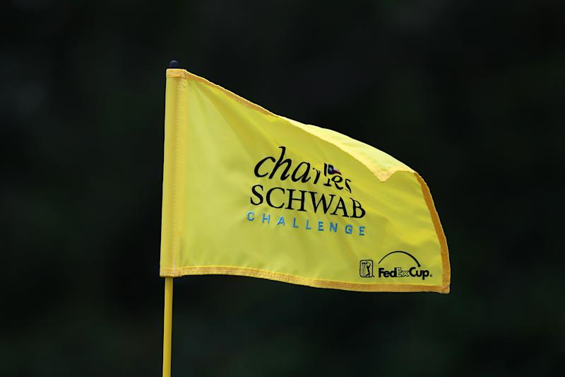 A general view of a flag during the first round of the Charles Schwab Challenge at Colonial Country Club on May 23, 2019 in Fort Worth, Texas.