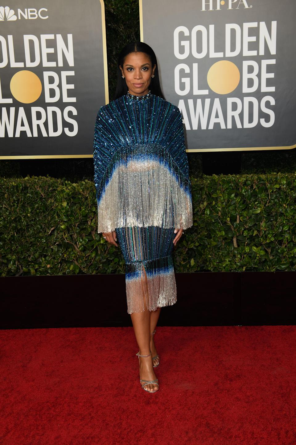 Susan Kelechi Watson also handed out an award and turned heads in a glittering, silver and blue two-piece outfit (HFPA/PA)