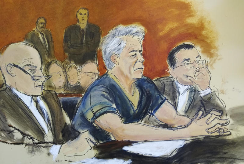 In this courtroom artist's sketch, defendant Jeffrey Epstein, center, sits with attorneys Martin Weinberg, left, and Marc Fernich during his arraignment in New York federal court, Monday, July 8, 2019. Epstein pleaded not guilty to federal sex trafficking charges. The 66-year-old is accused of creating and maintaining a network that allowed him to sexually exploit and abuse dozens of underage girls from 2002 to 2005. (Elizabeth Williams via AP)