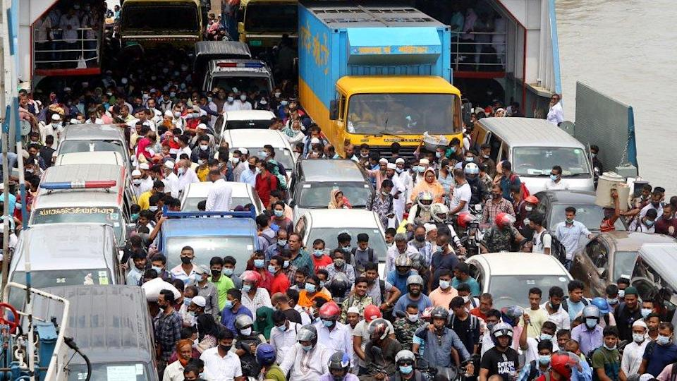 Crowds of people at Dhaka`s ferry ports